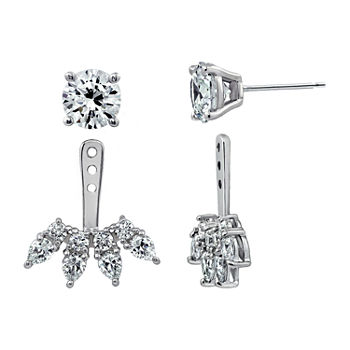 DiamonArt® 5 CT. T.W. White Cubic Zirconia Sterling Silver Earring Jackets