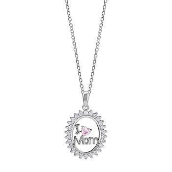 """I Love Mom"" Womens 7/8 CT. T.W. Multi Color Cubic Zirconia Sterling Silver Pendant Necklace"