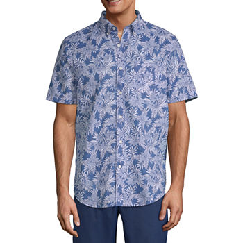 St. John's Bay Linen Blend Mens Short Sleeve Plaid Button-Down Shirt