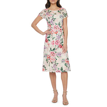 S. L. Fashions Short Sleeve Floral Lace Midi Fit & Flare Dress