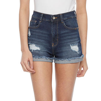 "Wallflower Womens Juniors High Rise 3"" Denim Short"