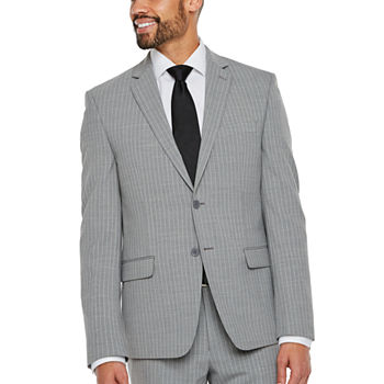 clearance gray suits sport coats for men jcpenney collection by michael strahan grey stripe classic suit separates