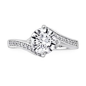 Womens 2 1/2 CT. T.W. Cubic Zirconia Sterling Silver Curved Engagement Ring