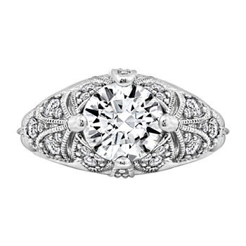 Womens 2 1/2 CT. T.W. Cubic Zirconia Sterling Silver Dome Engagement Ring