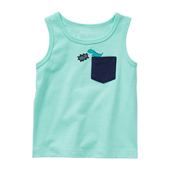 Okie Dokie Baby Boys Crew Neck Sleeveless Muscle T-Shirt