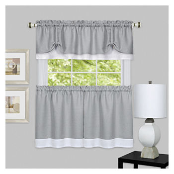 Darcy Rod-Pocket Window Tiers and Valance Curtain Set