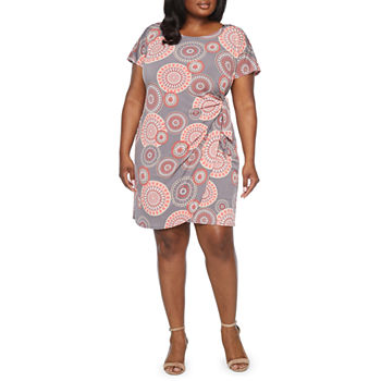 Robbie Bee-Plus Short Sleeve Medallion Puff Print Sheath Dress