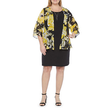 Alyx-Plus 3/4 Sleeve Floral Jacket Dress