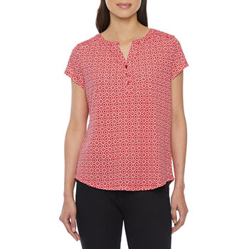 Liz Claiborne-Tall Womens Split Crew Neck Short Sleeve Henley Shirt