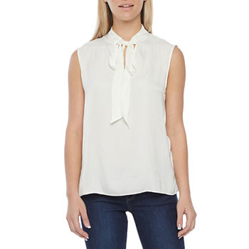 Worthington Womens Split Tie Neck Shell - Tall