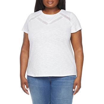Liz Claiborne Plus Womens Crew Neck Short Sleeve T-Shirt