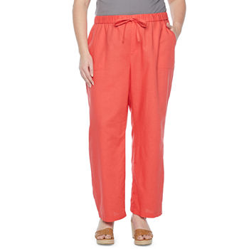 Liz Claiborne Womens Straight Drawstring Pants - Plus