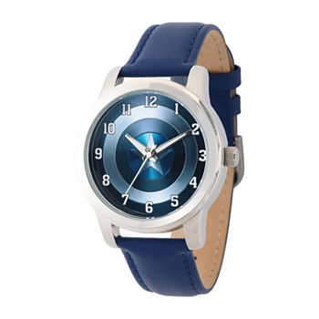 Marvel Avengers Mens Blue Leather Strap Watch-Wma000006