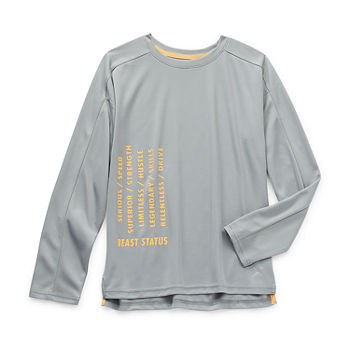 Xersion Everair Relaxed Fit Little & Big Boys Crew Neck Long Sleeve Graphic T-Shirt