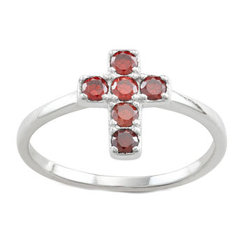 Girls Red Cubic Zirconia Sterling Silver Cross Cocktail Ring