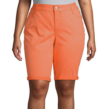 "St. John's Bay Womens Mid Rise 11 1/2"" Bermuda Short-Plus"
