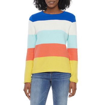 St. John's Bay-Tall Womens Crew Neck Long Sleeve Striped Pullover Sweater