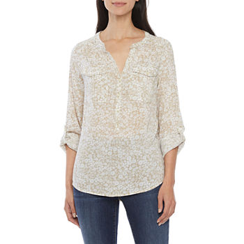 St. John's Bay-Tall Womens Long Sleeve Regular Fit Button-Down Shirt