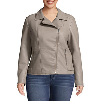 d3faa025af Plus Size Faux Leather Coats   Jackets for Women - JCPenney