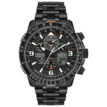 Citizen Promaster Skyhawk A-T Mens Chronograph Black Stainless Steel Bracelet Watch - Jy8075-51e