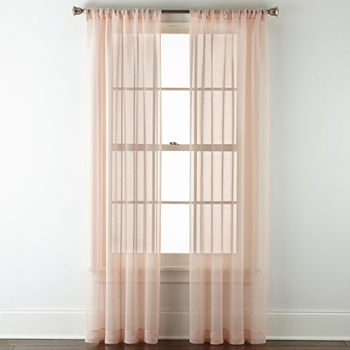 Home Expressions Casual Stripe Sheer 2 Pk Sheer Rod-Pocket Set of 2 Curtain Panel