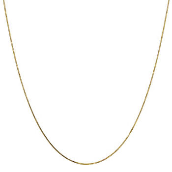 "14K Gold 14-30"" Solid Box Chain Necklace"