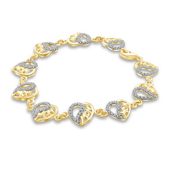 """Mom"" Diamond Accent Genuine White Diamond 14K Gold Over Brass Heart 7.5 Inch Tennis Bracelet"