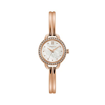 Caravelle Designed By Bulova Womens Rose Goldtone Stainless Steel Bracelet Watch - 44l247