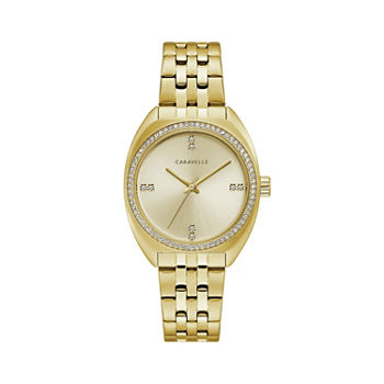Caravelle Designed By Bulova Womens Gold Tone Stainless Steel Bracelet Watch - 44l250
