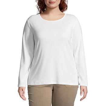 St. John\'s Bay Plus-Womens Crew Neck Long Sleeve T-Shirt