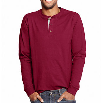 Hanes Mens Heavyweight Beefy-T Long Sleeve Henley