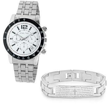 Steeltime Mens Lord's Prayer Silver Tone Bracelet Watch-998-028-W-613-149-B