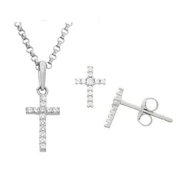 White Cubic Zirconia Sterling Silver Cross 2-pc. Jewelry Set
