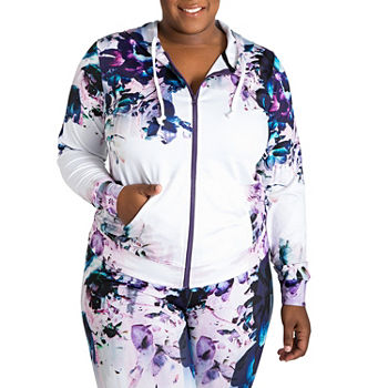 Poetic Justice Printed Active Zip Front Track Jacket - Plus