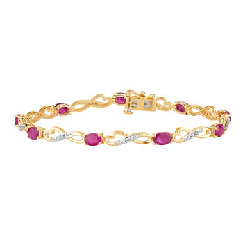 1/4 CT. T.W. Lead Glass-Filled Red Ruby 10K Gold 7.5 Inch Tennis Bracelet