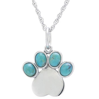 Paw Print Womens Enhanced Blue Turquoise Sterling Silver Pendant Necklace