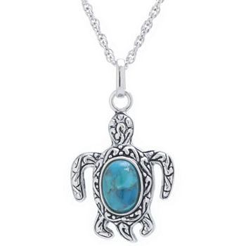 Turtle Womens Enhanced Blue Turquoise Sterling Silver Pendant Necklace