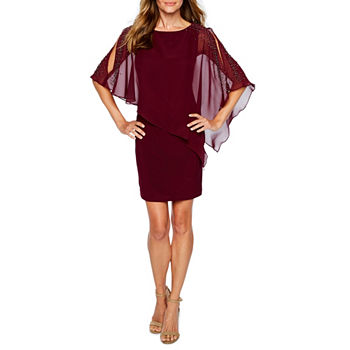 DJ Jaz 3/4 Sleeve Beaded Cape Bodycon Dress