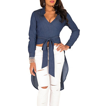 Poetic Justice Randa Womens Long Sleeve Wrap Shirt