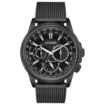 Citizen Calendrier Mens Black Stainless Steel Bracelet Watch - Bu2025-76e