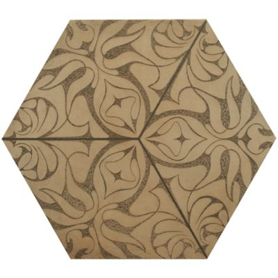 "12"" x 13-7/8"" eden hexagon decorative field in crème"
