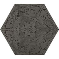 "12"" x 13-7/8"" fantastique hexagon decorative field in grey"