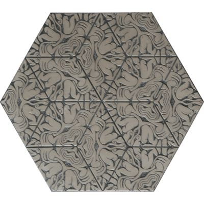 "12"" x 13-7/8"" maximus hexagon decorative field in grey"