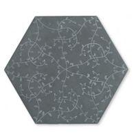 "12"" x 13-7/8"" tendril hexagon decorative field in grey"