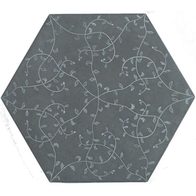 "12"" x 13-7/8"" tendril hexagon decorative field in grey"