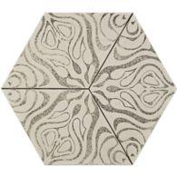 """12"""" x 13-7/8"""" trillium hexagon decorative field in crème"""