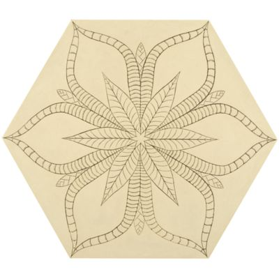 "12"" x 13-7/8"" tropic hexagon decorative field in crème"