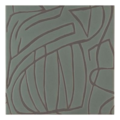 """Maven Canyon 8"""" x 8"""" field tile in Olive with black dry line"""