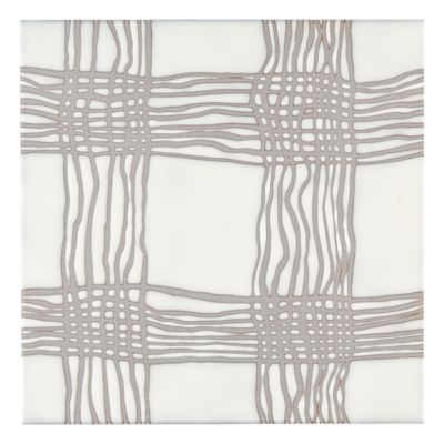 Maven Woven  Field Tile In Matte White With Grey