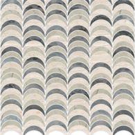 "Ann Sacks Mosaic Avalon 11.75"" x 12"" pattern repeat in Bardiglio, Whitewood, and Smoke"